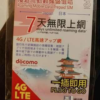 去日本7日, 絕對唔好貪平揀張龜速既數據咭, 識揀一定揀由香港3台出既7天無限上網數據咭, 🎊🎊🎊最啱數據高用量的用家購買🎊🎊🎊  ❎❎❎只係漫遊數據咭, 不能通話的❎❎❎  💰💰💰元旦新年優惠, 每張只係$100, 包埋順豐自取給你. 平均每日費用只係$17左右, 超抵用.