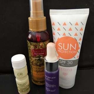 Sunscreen, Acne care, serum, foot spray