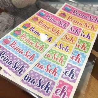 Customised school stickers labels waterproof. Cupcakes