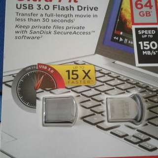 64 GB Sandisk Ultra Fit USB3.0 Flash Drive 64GB