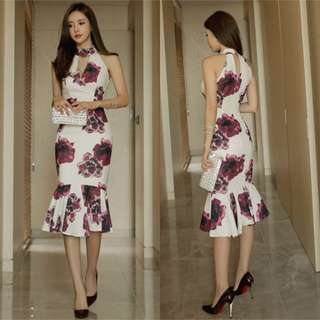 Frilled Floral Midi Dress (PO)