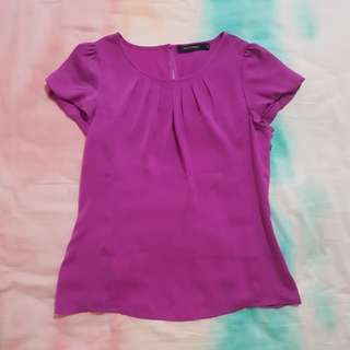 G2000 Purple Pleated Blouse with Puffy Sleeve