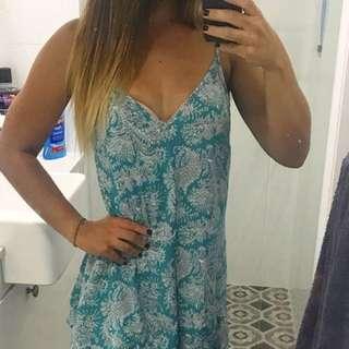 Boutique boho summer minidress with low v back.