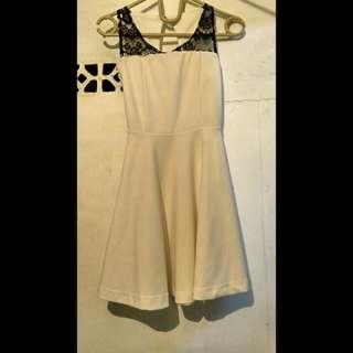 White Dress With Black Brukat