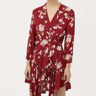 Floral asymmetric wrap dress