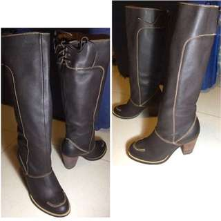 Brand New Italy Made Genuine Leather Brown Knee High boots Riding Hunting Style  意大利 製造 真皮 牛皮 啡色 長靴 皮鞋  皮靴 靴 鞋 打獵  Biker ankle long over knee short 型 Ox hide winter autumn 秋冬 秋天 冬天 秋季 冬季 Extra cool stylish simple 簡約 minimalism trendy Plus Size 高筒 歐洲