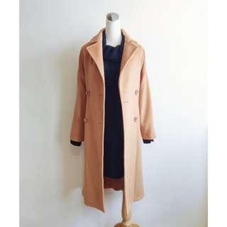 焦糖駝色長版繫帶60%羊毛大衣