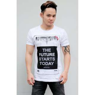 Kaos White Future.Men's casual T-shirts