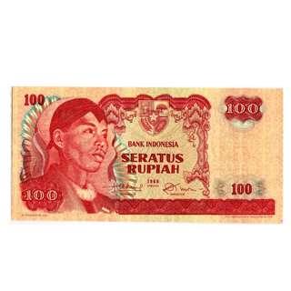 1968年 印度尼西亞 100盧比 DPF040538 UNC級(錯體8跳高字)