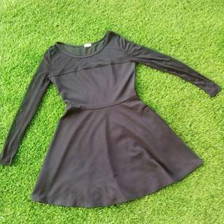 Downtown Meshed Black A Line Dress #20under