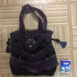 Vintage Laces Handbag (Dark purple)