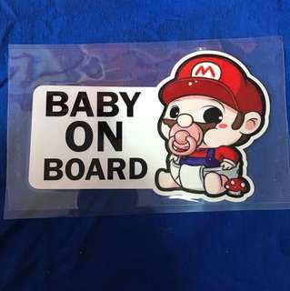 Waterproof Reflective Sticker Baby On Board sticker - Super Mario Edition 18x11cm