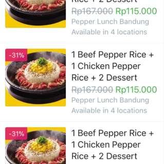 Pepper Lunch Voucher Makan Beef + Chicken Pepper Rice & Dessert