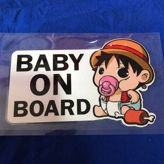 Waterproof reflective baby on Board sticker - One Piece edition featuring Luffy 18x11cm  big
