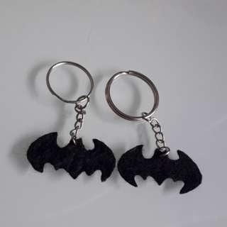 Handmade Batman logo silhouette felt keychain