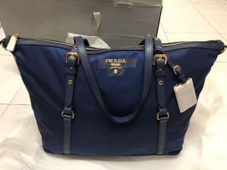 100% 正貨 Prada BR4253 shopping bag  餃子包 斜背 手拎  br4253尼龍 女 寶藍色 royal