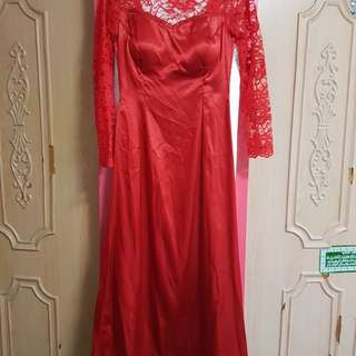 Preloved Red Lacey Boat neck Gown