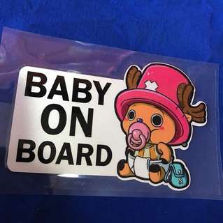 Waterproof Reflective Sticker baby on board - one piece edition feat tony tony chopper edition