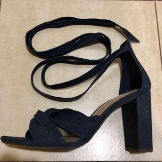 Payless denim lace up heels