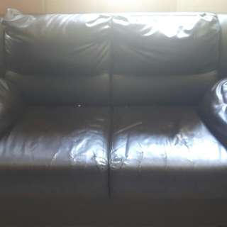 Two-seater leather sofa black