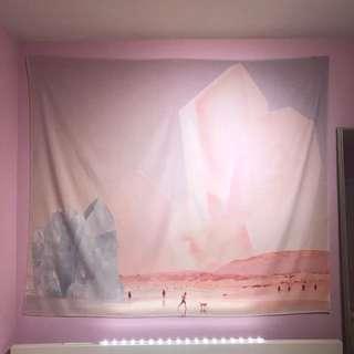 Surrealist Crystal Beach Art Wall Tapestry