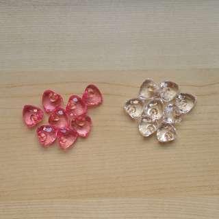 Clear Acrylic Hearts / Pink Acrylic Hearts