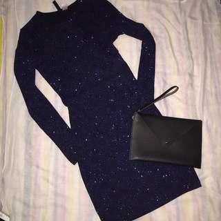 H&M Mini Glittery Night Dress Navy