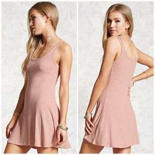 Marled Ribbed Knit Swing Dress