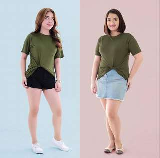 Army Green Knotted Tee