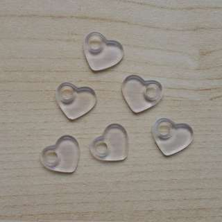 Clear Acrylic Heart Beads