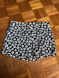 F21 Black Floral Shorts