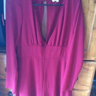 Red plunge play suit