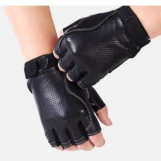 🆕! Hi Quality PVC Black Leather Half Finger Protective Gloves   #OK