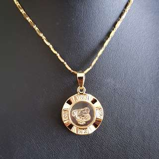 Chinese Snake zodiac lucky charm pendant (时来运转生肖) Gold