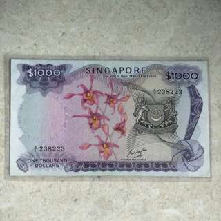 GKS SINGAPORE $1000 ORCHID A/1 238223 VF/VF+
