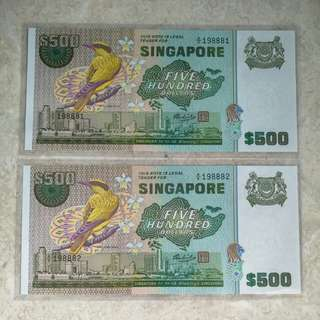 2 PCS SINGAPORE $500 BIRD A/6 198881-82 RUN UNC