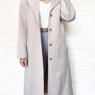 Long Cream Blazer Coat