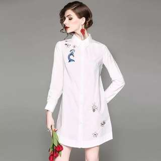Pure cotton embroidered loose shift shirt white blouse dress