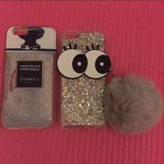 ❗️清櫃❗️(1組)超令iPhone手機殼(閃粉流沙香水造型+可愛眼睛流沙毛球)$30 for 2