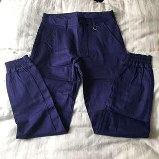 Hades工作褲 長褲 窄 寶藍色 縮口褲