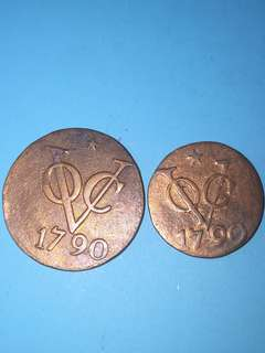Netherlands East Indies VOC copper coin 1 & 2 Duits Year 1790 (2coins) sale 30%