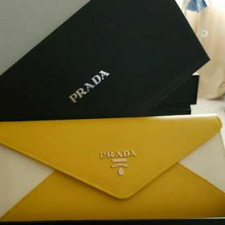 Prada 2 tone clutch bag with chain