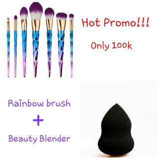 Rainbow brush + beauty blender
