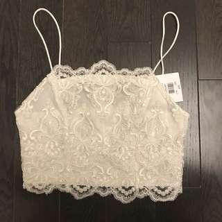 Topshop white deco lace top