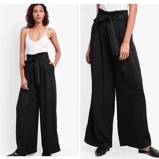 Wide-leg Black Paperbag Trousers