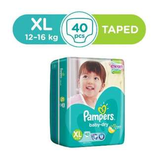 Pampers Baby Dry Tape Diapers XL 40pcs