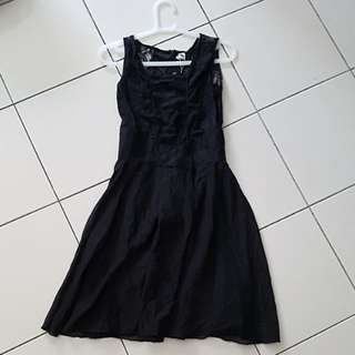 (NEW) Black Dress - Sleeveless with lace top