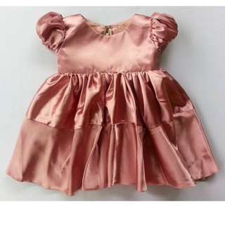 Silk gown old rose baby gown