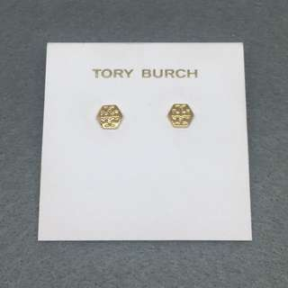 Tory Burch Sample Earrings 金色六角形經典logo耳環