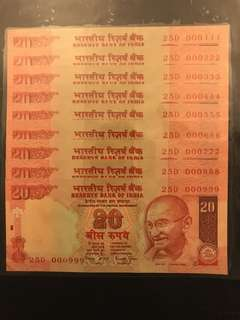 Fancy numbers 000111 - 999 india 20 Rupees